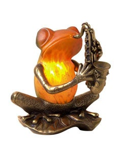 Frog Playing a Saxophone Tiffany-style Accent Lamp