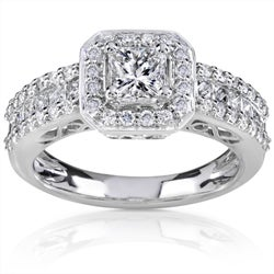 14k White Gold 1 1/4ct TDW Diamond Halo Engagement Ring