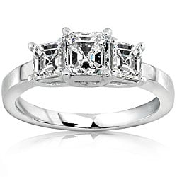 14k Gold 1ct TDW Asscher Diamond Engagement Ring