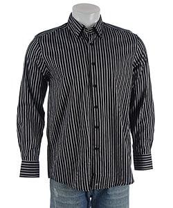 Andrew Fezza Black And Gray Striped Dress Shirt