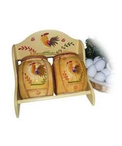 Sunshine Rooster 2-piece Spice Storage Jar with Rack
