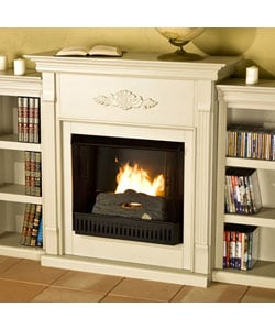 Dublin Antique White Bookcase Gel Fuel Fireplace 10852574 Shopping Great