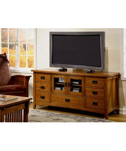 Mission Solid Oak Plasma TV Console
