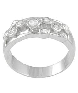 Tressa Sterling Silver Bezel Set Cubic Zirconia Ring