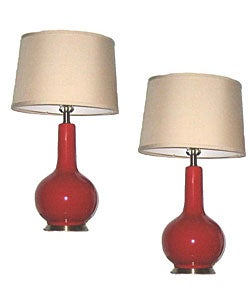 South Beach Cherry Red Table Lamps (Set of 2)