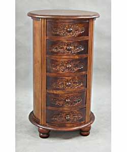 Carved Wood Round 6-drawer Jewelry Chest