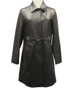 Komitor Women's 3/4 Length Plus Size Leather Coat