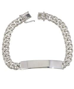 Sterling Essentials Sterling Silver 8.5-inch Cuban Link ID Bracelet
