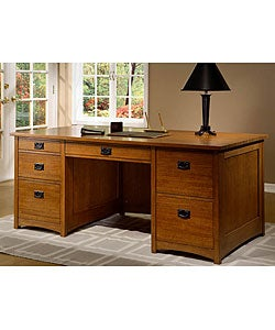 Overstock Furniture on Mission Solid Oak Executive Desk   Overstock Com