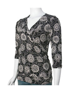 J.T.B Floral Criss-Cross Bodice Women's Top