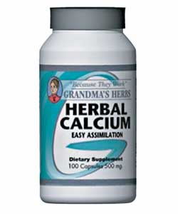 Grandma's Herbs 500mg Herbal Calcium Supplement (100 Capsules)