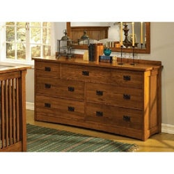 Mission Cherry Oak  7-drawer Dresser