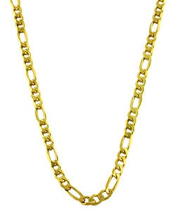 Sterling Essentials 14K Gold over Silver 24-inch Figaro Chain