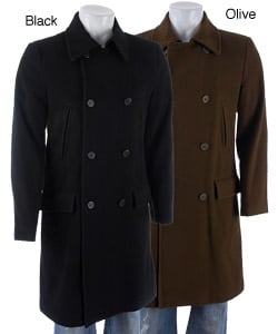 Black Rivet Men's Wool Trench Coat