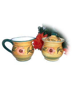 Sunflower Garden Hand-painted Sugar and Creamer Set
