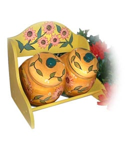 Sunflower Garden Hand Painted 2-piece Jar Rack