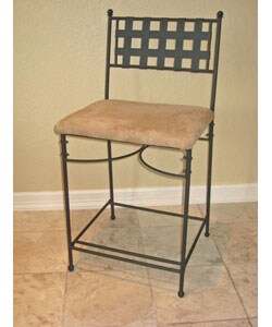 Iron/Upholstered 24-inch Barstool (Set of 2)