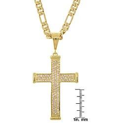 Simon Frank 14k Gold Overlay Cross with CZ Hip Hop Necklace