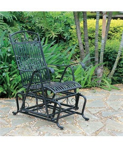 International Caravan Single Black Iron Glider Chair