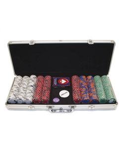 500 -piece Tri-Color Crown & Dice Poker Chip Set