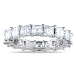 Miadora 18k White Gold 4ct TDW Asscher Diamond Eternity Ring (G-H, VS2)