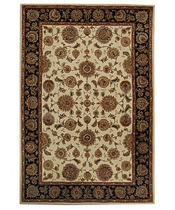 Handmade Legends Ivory/ Black Wool and Silk Rug (4' x 6')