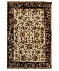 Handmade Legends Ivory/ Black Wool and Silk Rug (4' x 6')