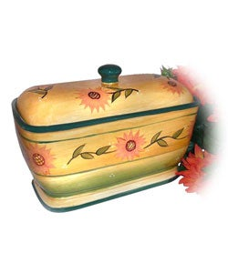 Sunflower Garden Handpainted Toast / Bread Jar