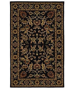 Hand-tufted Omnamo Black Wool Rug (5' x 8')