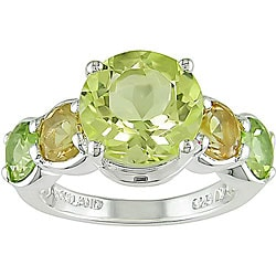 Silver Lemon Quartz Citrine Peridot Ring