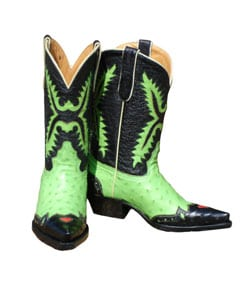 Jurassic Lime Green and Black Ostrich Cowboy Boots