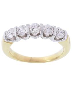 14k Two-tone Gold 1ct TDW Diamond 5-stone Ring (G, I1)