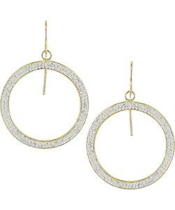 10k Yellow Gold Circle Crystal Hoop Earrings