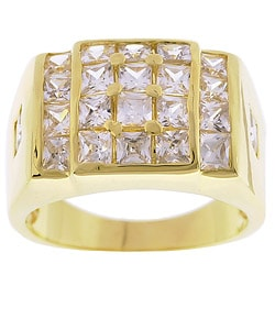 Simon Frank 14k Yellow Gold Overlay Men's Surface Fire CZ Ring