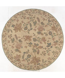 Hooked Cream Floral Rug (8' Round)