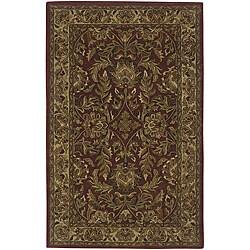 Hand-tufted Elegance Burgundy Floral Border New Zealand Wool Rug (9' x 13')