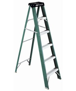 Fiberglass 6-foot 225-pound Rating Green/ Black Step Ladder
