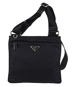 Prada Small Navy Nylon Flat Messenger Bag - 11061367 - Overstock ...