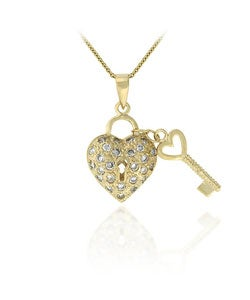 Icz Stonez 18k Gold over Sterling Silver Cubic Zirconia Heart and Key Necklace