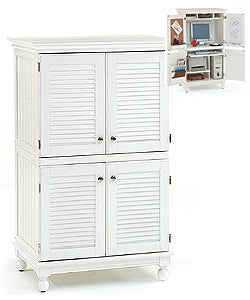 Computer Armoire with Distressed White Finish