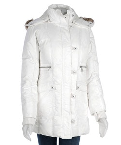 DKNY Women's White Down Hooded 3/4-length Parka