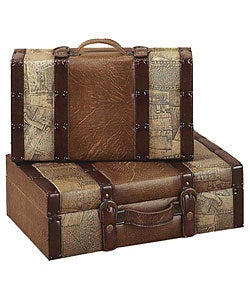 Wood Luggage-Style 2-piece Decorative Trunk Boxes