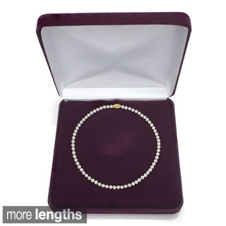 "DaVonna 18k Gold White Akoya Pearl Necklace (16""-36"") with Gift Box"