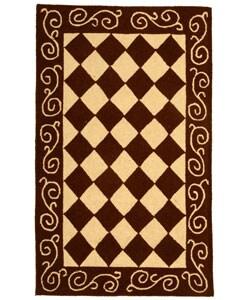 Safavieh Hand-hooked Diamond Brown/ Ivory Wool Runner (2'6 x 4')