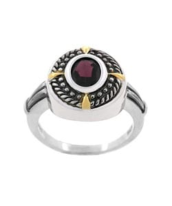 Glitzy Rocks SS Rope Design Oxidized Garnet Ring