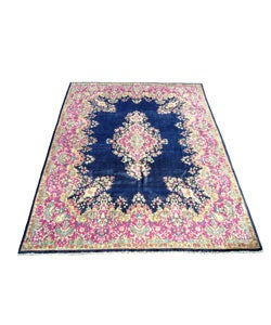 persian kirman hand knotted navy pink rug 9 39 x 12 39 11082427 shopping. Black Bedroom Furniture Sets. Home Design Ideas