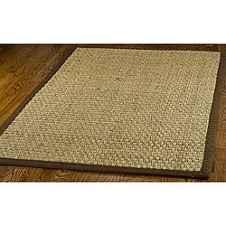 Hand-woven Sisal Natural/ Brown Seagrass Rug (6&#39; x 9&#39;)