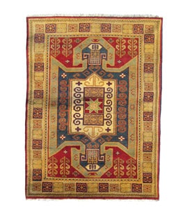 Indo Kazak Hand-knotted Red/Gold Rug (5' x 8')