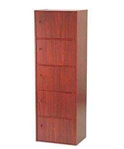 Mahogany 5-tier Storage Cubbies with Doors