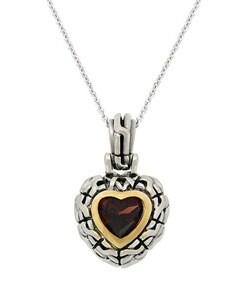 Glitzy Rocks Sterling Silver Garnet Heart Necklace